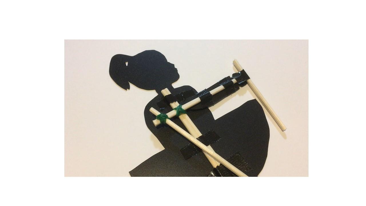 割りばしと輪ゴムで作る影絵人形